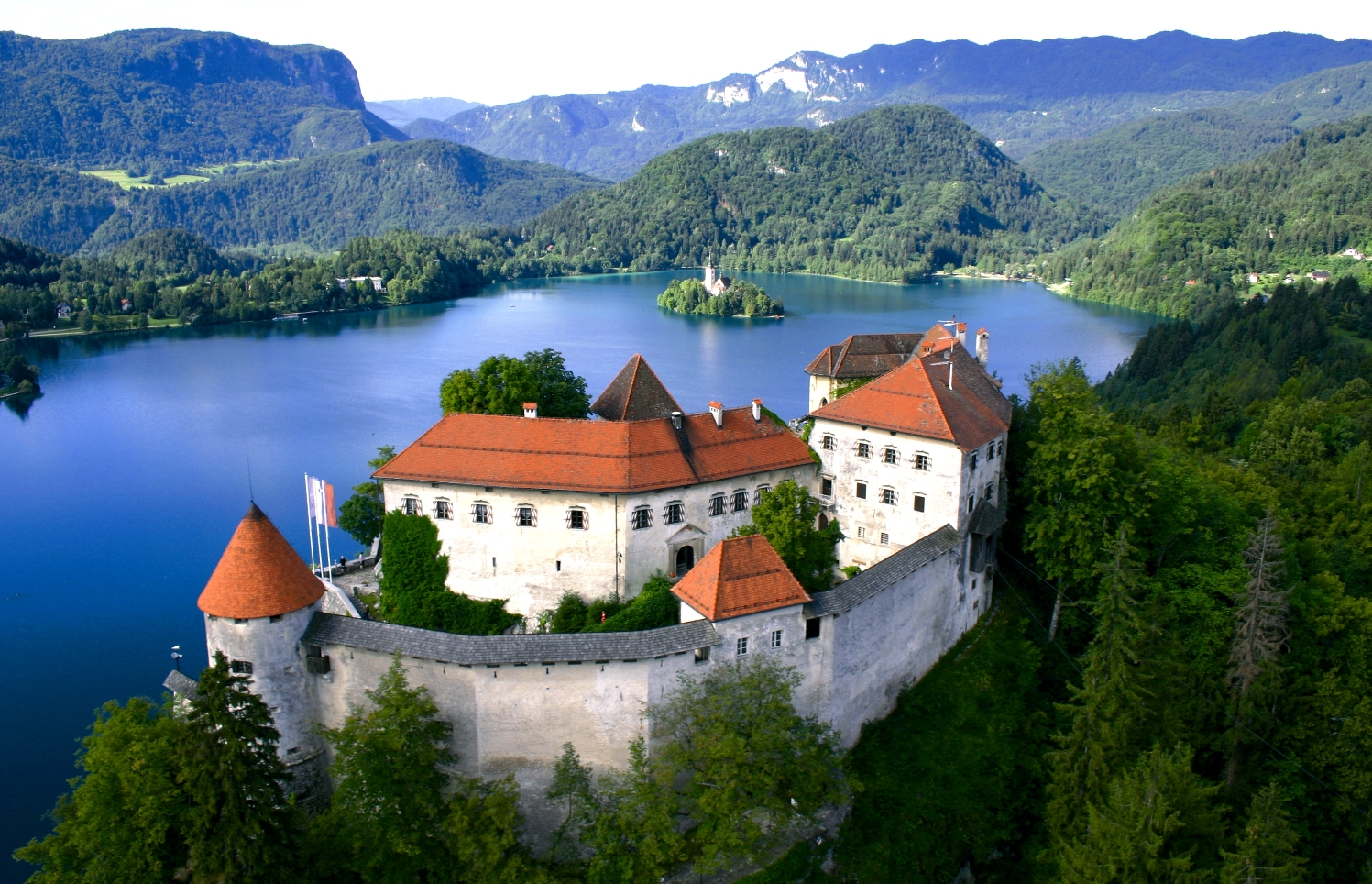 Lake Bled Castle Aerial View