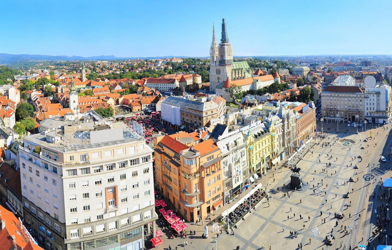 Zagreb City Centre Aerial View Croatia