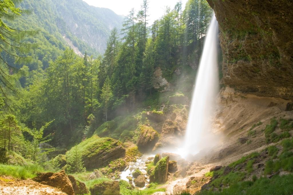 Slovenia Mountains Waterfall